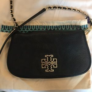 Tory Burch Leather Britten Clutch Chain Crossbody